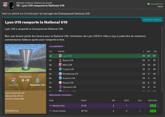 U19 champion et demi Youth League