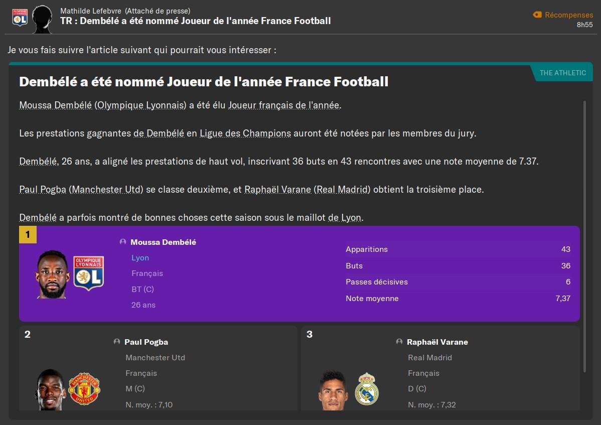Dembélé joueur français de l'année, 75%