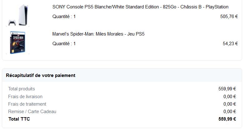 PS5 achetée