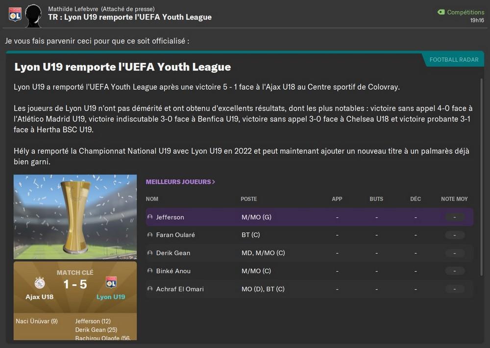 Vainqueur Youth League, 75%